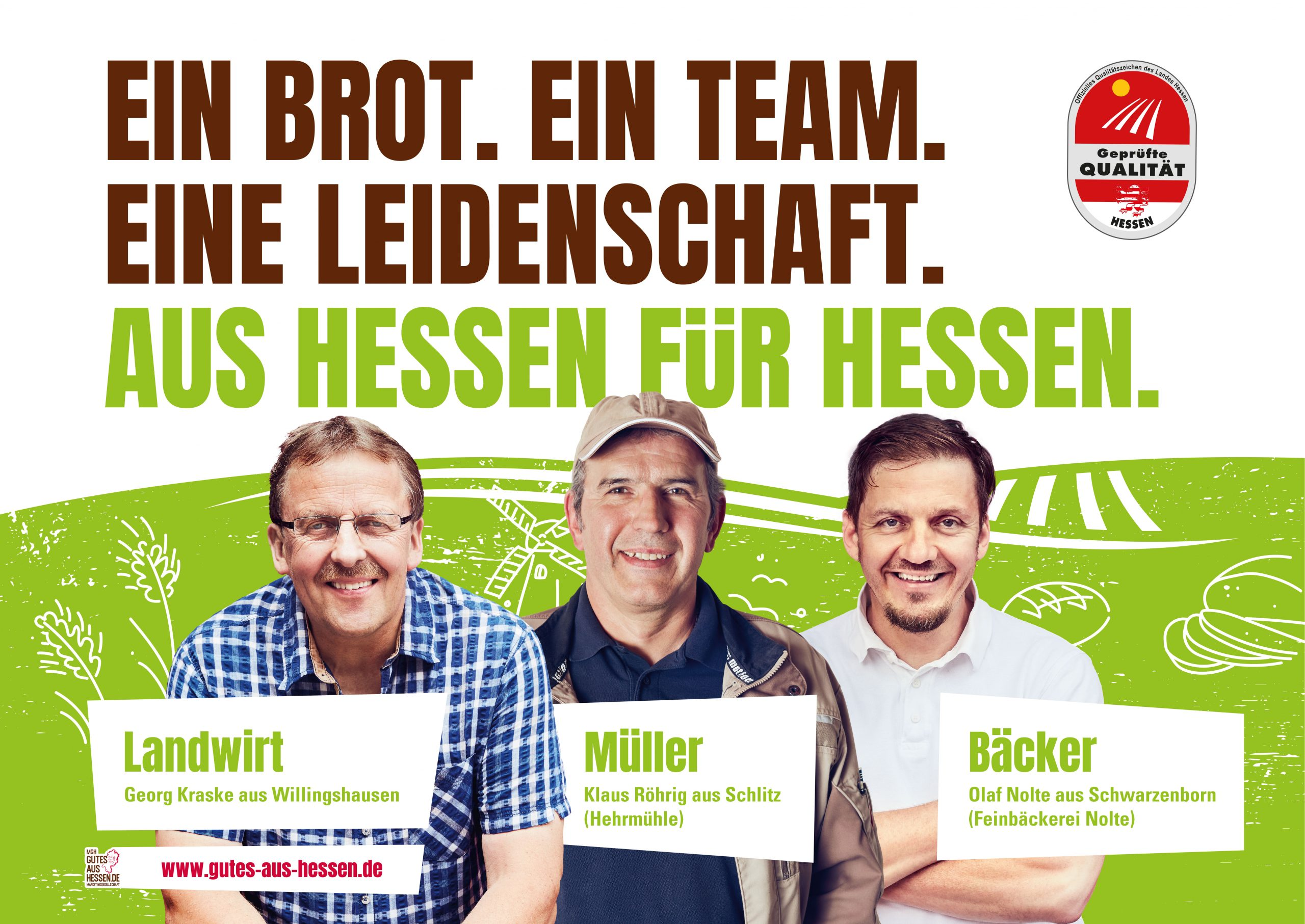 Plakatmotiv der Wertschöpfungsketten-Kampagne Landwirt-Müller_Bäcker