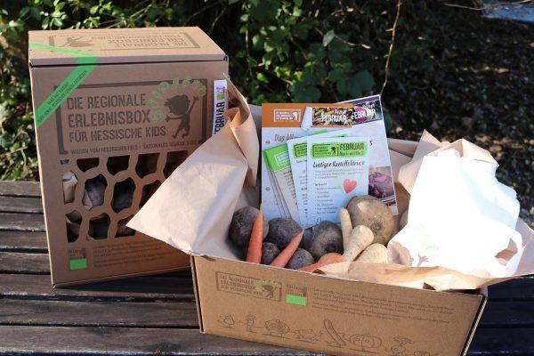 Die regionale Erlebnisbox mit Gemüse und Informationen rund ums hessische Feld für hessische Kids